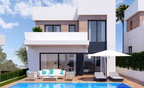 Villas with views over the sea and the mountains in Finestrat on the Costa Blanca North.